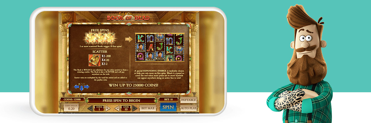 Book of the Dead game dashboard